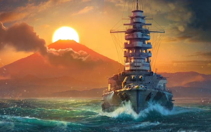 World_Of_Warship_Ships_Sunrises_and_sunsets_Mutsu_522149_2560x1600